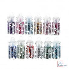 Декор для дизайна ногтей в баночках в виде страз, 12шт, разноцветные 357-139