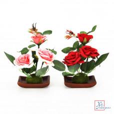 Декоративные цветы в кашпо Розы 18*8,5*5,5 см керамика пластк 2 цв 501-408