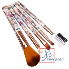 Кисточки для макияжа 5 шт 13,5 см пластик нейлон.нейлон 3диз. 357-067