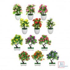 Декоративный цветок в горшке 25,5х9,5см 26,*10,5*6,5см пластик  6цв