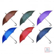 Зонт универсальный трость метал полиэстер 8 спиц 60 см  6 цв.302-277