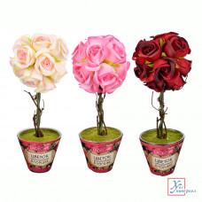 Декоративный цветок в горшке, в виде розы, пластик, керамика, 31х10 см, 4 цвета 501-466