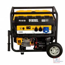 Генератор бенз. DENZEL  PS 55 EA 5,5кВТ 220вт/50Гц,25л, коннектор автомат, электростартер /946874