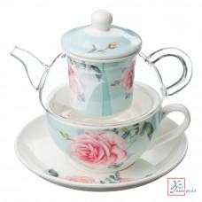 Чайный набор  3 пр.( чайник 400 мл Блюдце кружка 200 мл) 3 цв. 821-436