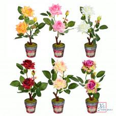 Декоративный цвето в горшке в виде роз 23*8 см  пластик,кер 6 цв.501-463