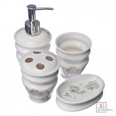 Набор д/ванной керамический 4пр, Серебристые розы 463-622