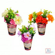 Декоративный цвето в горшке в виде роз 22*8 см  пластик 3 цв.501-468