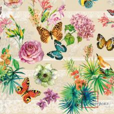 Клеенка Декорама ПВХ 009 В 140 см*20 м 1 с Бабочки на бежевом