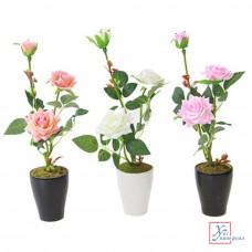 Декоративный цветок В виде розы 32см, пластик, полиэстер, 3 цвета 501-253