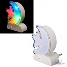 Светильник-ночник LED4 Месяц со звездой в розетку с выкл.многоцв.пластик 5,5*8,5*6 см 0,5 Вт 417-018