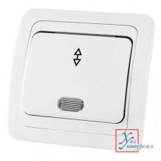 Выключатель TDM Валдай 1 СП 10А 220В белый с подсв.перекл. на 2 направ. SQ1804-0005 /10/