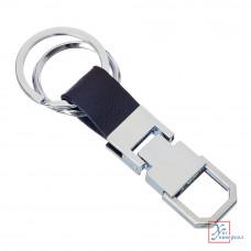 Брелок для ключей с карабином кож.вставка 1 металл 70*20*8 мм 732-030