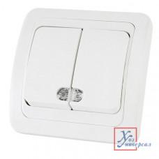 Выключатель TDM Валдай 2 СП 10А 220В белый с подсв.SQ1804-0006 /10/