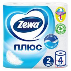 Бумага туалетная Zewa Plus 2 сл. 4 рулона  Белая /24/