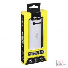 Аккумулятор мобильный FORZA 3000 мАч с LED фонарем белый 916-159
